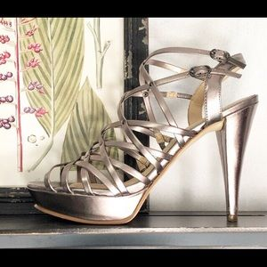 Marc Fisher Pewter Strappy Heels